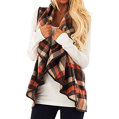 Bokeley Womens Casual Lapel Open Front Plaid Vest Cardigan Coat Sherpa Jacket with Pockets (S, Khaki 2)