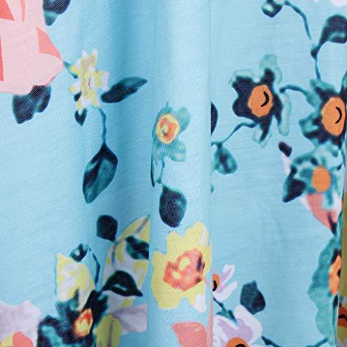Magideal Femmes Robe D'été Boho Imprimé Floral Plage O-cou Mini Robe Casual T-shirt Robe Courte Bleu L