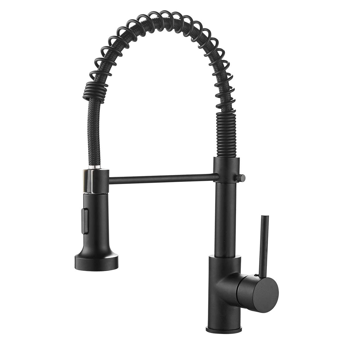 OWOFAN Lead-Free Commercial Solid Brass Single Handle Single Lever Pull Down Sprayer Spring Kitchen Sink Faucet, Paint Black Kitchen Faucets 9009R-A