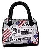 Faux Leather Small Bowler Handbag Purse with Nylon Lining and Zip Top Closure (US Flag and Newsprint) Review
