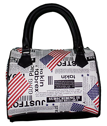 Faux Leather Small Bowler Handbag Purse with Nylon Lining and Zip Top Closure (US Flag and Newsprint) (Handbag Leather Bowler)