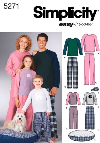 Simplicity Sewing Pattern 5271 Miss/Men/Child Sleepwear, A (XS-L/XS-XL) (Sewing Pants Pajama)