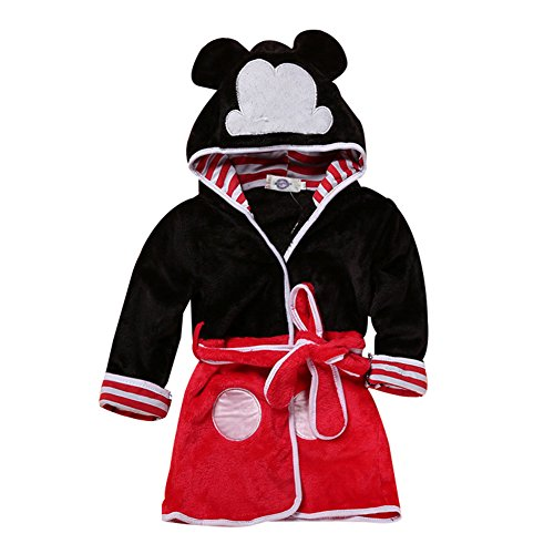 Happy childhood Baby Boys Girls Cartoon Bathrobe Soft Coral Fleece Infant Toddler Muticolored Sleepwear Outfit (Black&red, Size 120: 4-5T) by Happy childhood