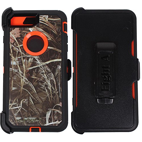 - Heavy Duty Impact Rugged with Built-in Screen Protector Camouflage Protective Case Cover with Clip for Apple iPhone 7(Orange-Grass-Camo)