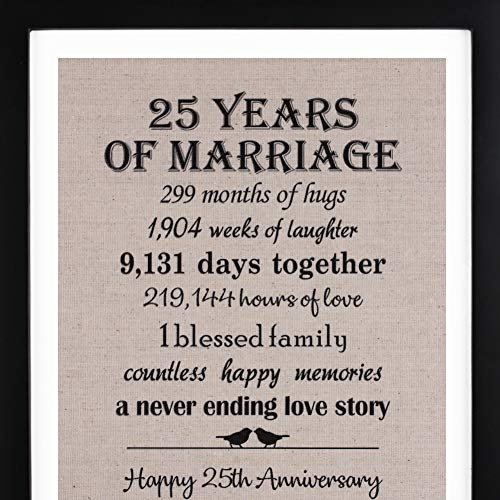 25th Anniversary Gifts Burlap Print with Frame, 25 Year Wedding Anniversary Gifts for Women Or Men, Silver Anniversary Gifts -