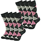 Long Tube Casual Dress Boot Socks, SUTTOS Wedding Mens Premium Cotton Black Argyle Plaids Nordic Fashion Patterned Warm All Season Quarter Mid Calf April Fools' Day Easter Day Gift Sock,8 Pairs