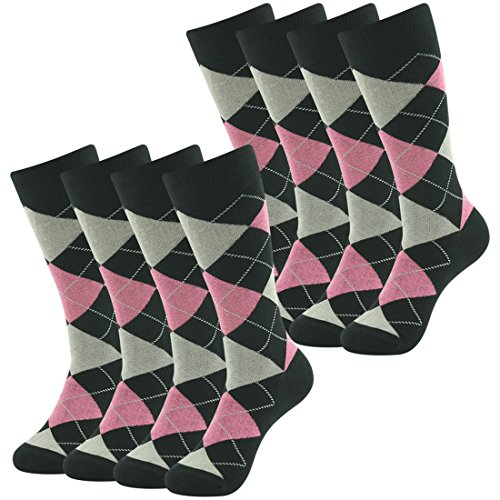 Long Tube Casual Dress Boot Socks, SUTTOS Wedding Mens Premium Cotton Black Argyle Plaids Nordic Fashion Patterned Warm All Season Quarter Mid Calf April Fools' Day Easter Day Gift Sock,8 Pairs ()