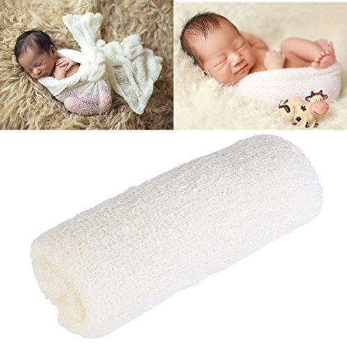 Tinksky Long Ripple Wrap, DIY Newborn Baby Photography Wrap-BAby Photo Props (Off-white Color) Stretch Baby Wrap