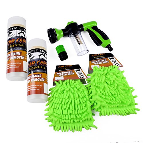 Car Wash Pressure Spray Nozzle: 8 Patterns with Reservoir Tank – 6 Piece Bundle | Includes Bonus Quick Connect Garden Hose Adapter, 2 Microfiber Wash Mitts, 2 Synthetic Chamois by Car Care Essentials