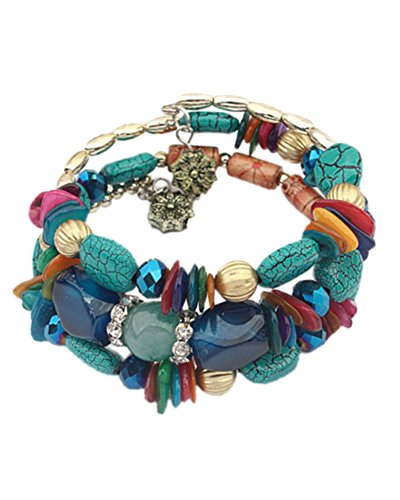 Young & Forever Women's Navratri Diwali Special Thalia Turquoise Coil Bracelet Multi-Colour by Young & Forever