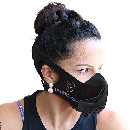 Spartonos Training Mask - Altitude Breathing Mask for Cardio & Workout Exercise - Air Resistance Endurance Mask for Breathe Control - Running Mask w/Adjustable Strap & 6 Intensity Option by Spartonos