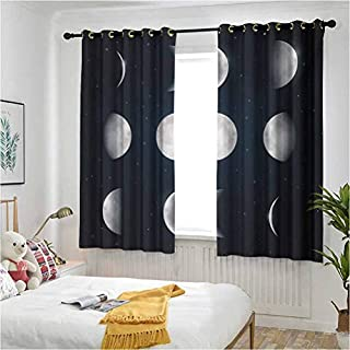 Moon Phases Room Darkening Curtain Astronomy Astrology Theme Universe Cosmos Movement Celestial Lunar Living Room Drapes 52 inches by 120 Inch
