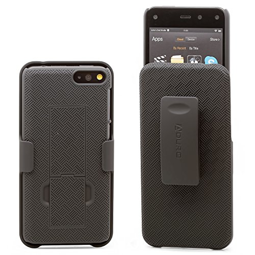 Aduro Shell Holster Combo Case for Amazon Fire Phone with Kick-Stand & Belt Clip - Black