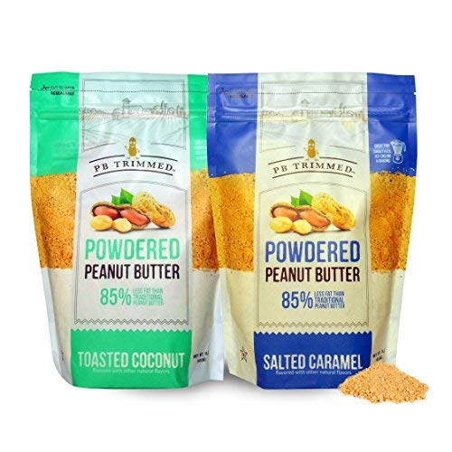 PB Trimmed All Natural & Kosher Premium Powdered Peanut Butter from Real Roasted Pressed Peanuts, Good Source of Protein - 16 oz Variety 2-Pack Bundle (1 Salted Caramel (16 oz) + Coconut)