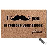 "MsMr Entrance Floor Mat Funny Door Mat I Mustache You to Remove Your Shoes Please Doormat Outdoor Indoor Mat Non-Woven Fabric Top Rubber Back 18""x30"""