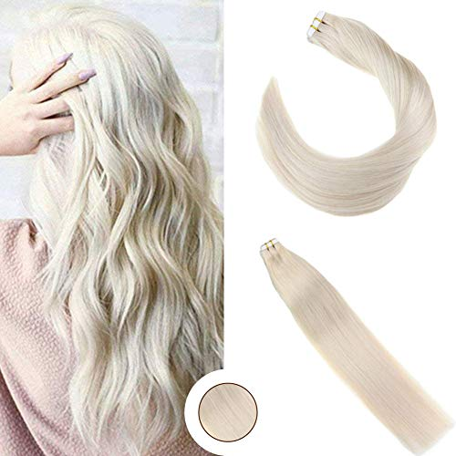 Ugeat 22inch Remy Hair Extensions Tape in Human Hair 50Gram 20Pcs Straight Unprocessed Remy Human Hair Platinum Blonde Color #60 Tape in Hair