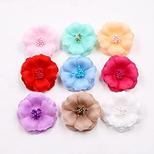 Fake Flower Heads in Bulk Wholesale for Crafts Artificial Flowers 5.5 cm Stamens Silk Plum Blossom Wedding Dress Flower Head DIY Party Festival Home Decor Home Shoes and Apparel Decoration 30pcs 55