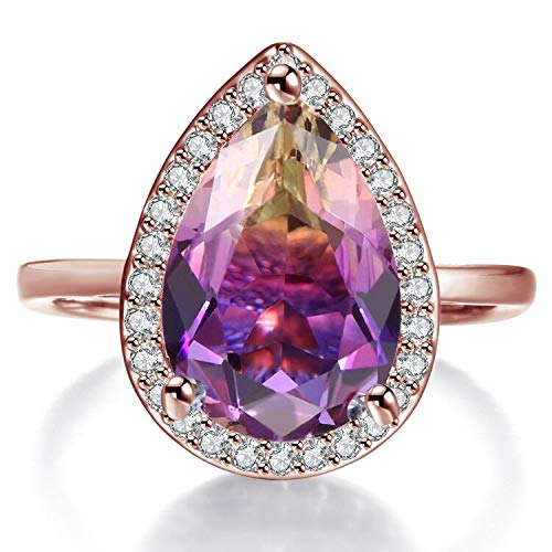 Teardrop Rings for Women Pear Cut Simulated Ametrine Crystal Micro Cubic Zirconia Halo Style Rhodium Plated Ring Size 6 ()