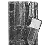 Trees Grove Forest Wood Birch Grey Black and White Tea Towels Forest for The Trees ~ Black by Peacoquettedesigns Set of 2 Linen Cotton Tea Towels