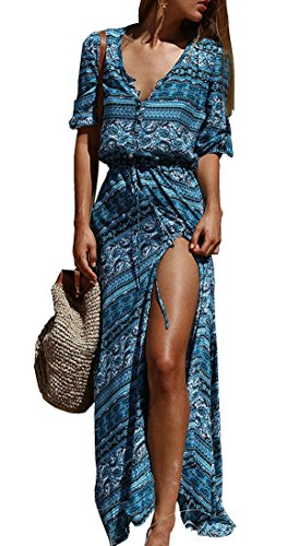 R.Vivimos Women's Summer Button Up Floral Print Split Beach Maxi Dresses 2XL Blue