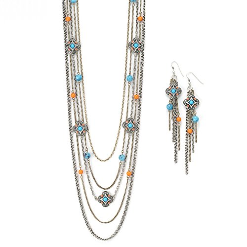 Womens Jewelry Long Silver Multi Chain Necklace Turquoise and Coral Bead Necklace (36