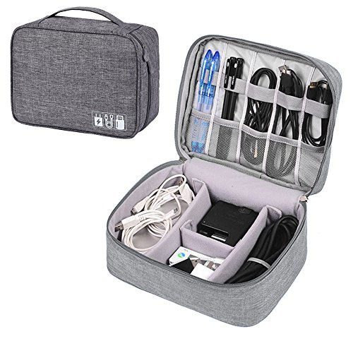 Travel Electronics Organizers, Waterproof Electronic Bag, Travel Gadget Bag for Cables, Power, Memory Cards,Flash Hard (Grey