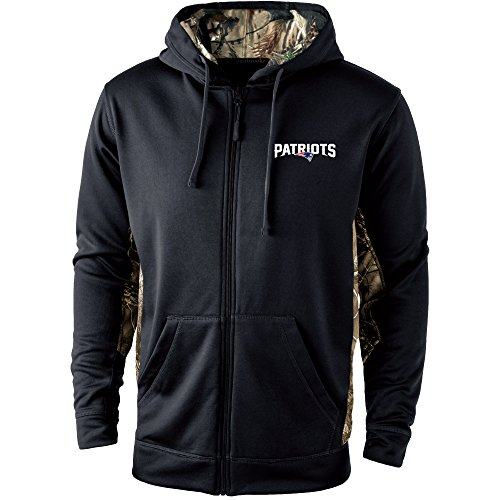(Dunbrooke Apparel NFL New England Patriots Mens 5411Decoy Camo Accent Fullzip Tech Fleece, Black with Camo, Medium)