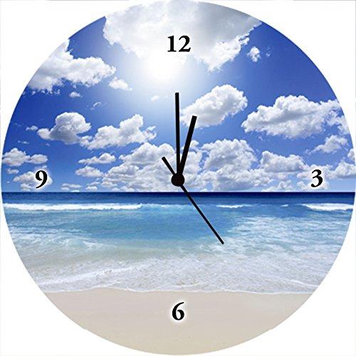 Artland Qualitätsuhren I Funk Wanduhr Designer Uhr Glas Funkuhr Größe: 35 Ø Strand Blau H8EX