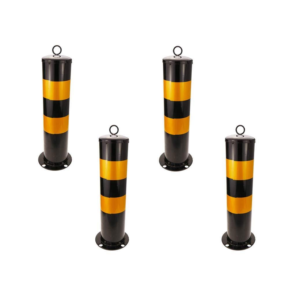 PrimeMatik - Steel bollard with nailed base 12x50 cm 4-pack PrimeMatik.com PN19091618200129471