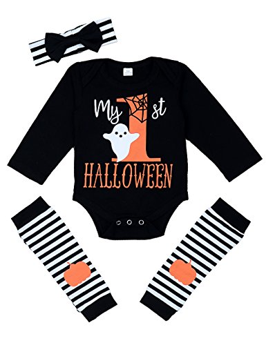 My First Halloween Baby Girl Boy Clothes Newborn Baby Outfits with Headband and Leg Warmer Sets -