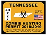 Tennessee Zombie Hunting Permit(Bumper Sticker)