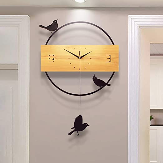 Silent Pendulum Large Wall Clock Modern Design Battery Operate Quartz Hanging