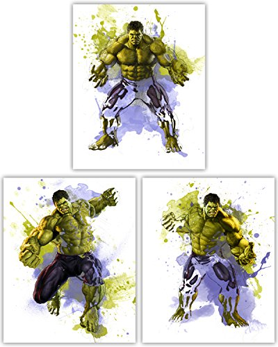 (Hulk Wall Decor Collection - The Incredible Avenger in This Awesome Wall Art Movie Poster Collection - Set of 3 8x10 Photos)