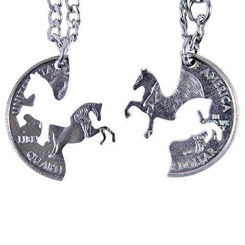 Marycrafts Set Hand Cut Coin Horse Necklace Interlocking Necklace Jewelry Relationship BFF - Necklace Coin Cut