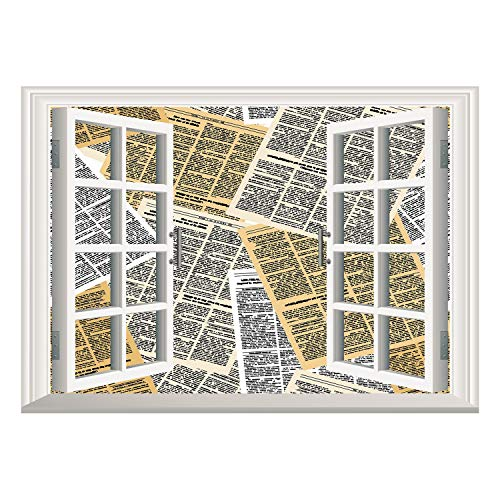 SCOCICI Creative Window View Home Decor/Wall Décor-Old Newspaper Decor,Pages of Old Journals Magazines Columns Information Print Decorative,Light Brown White Black/Wall Sticker Mural