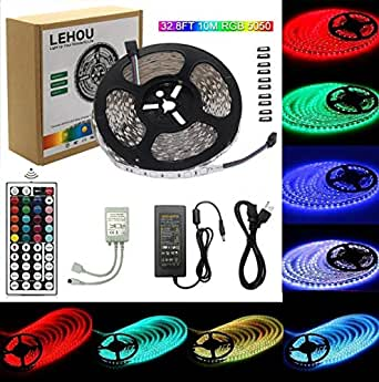 LED Strip Light 32.8ft(10m) RGB SMD 5050 LED Rope Lighting Color Changing Full Kit with 44-Keys IR Remote Controller for Kitchen, Bedroom, Bar, Party, TV Backlight