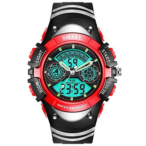 Relojes para niños Niños Niños Deportes digitales Negro Rojo Amarillo Impermeable LED Cronómetro A prueba de golpes Retroiluminación Alarma Relojes de ...
