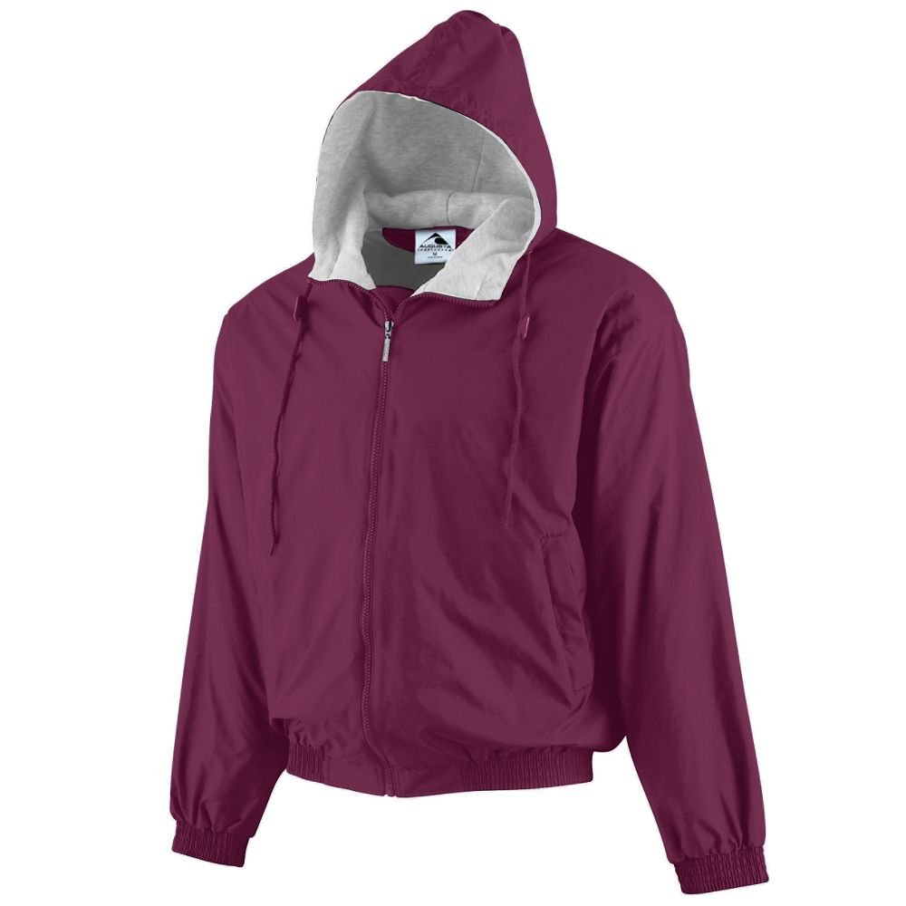 Augusta Sportswear Unisex-Adult Hooded Taffeta Jacket/Fleece Lined, Maroon, Small