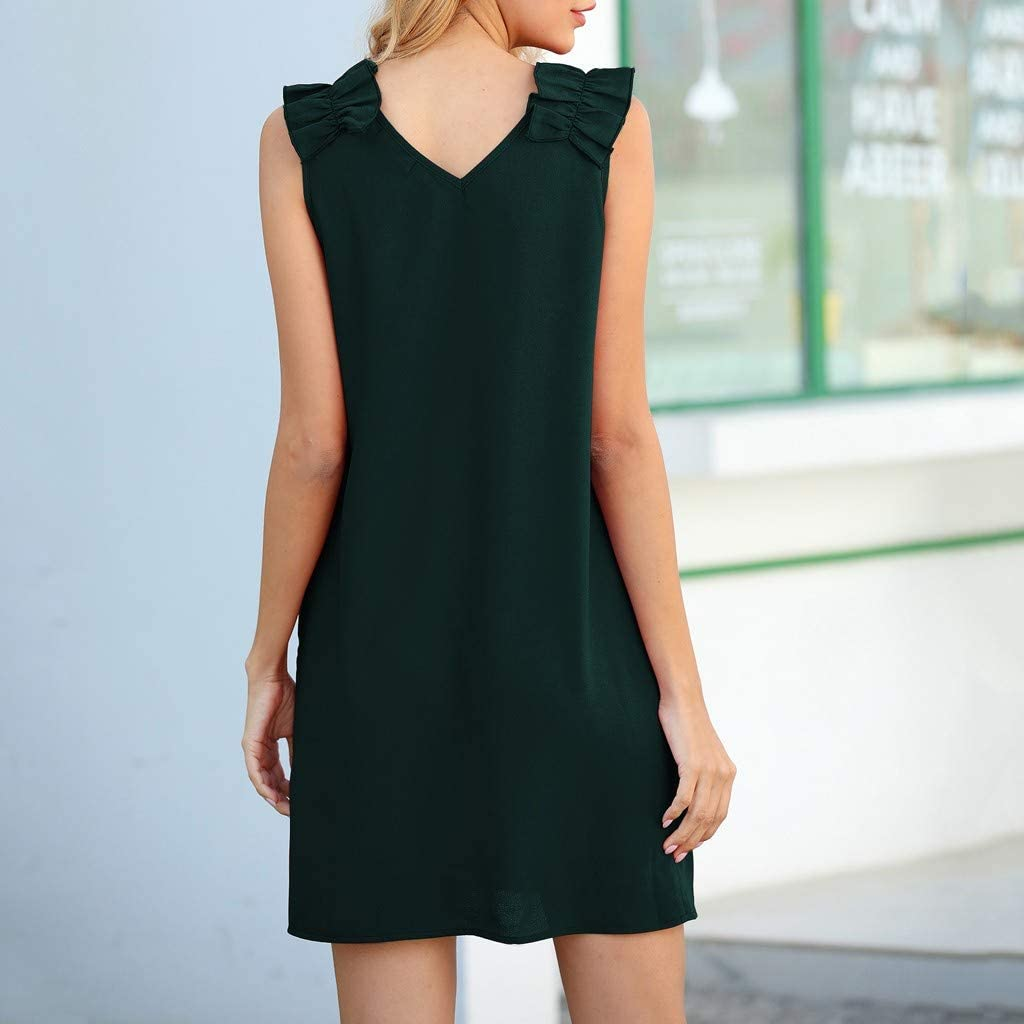 MERICAL Mode féminine col en V sans Manches plissée épaule Mini-Robe décontractée Vert