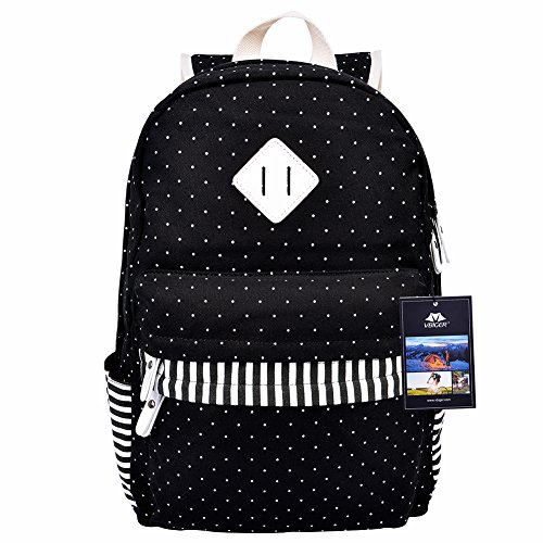 Vbiger Pastoral Canvas School Bag for Girls Floral Printed Backpack (Black 3) Review