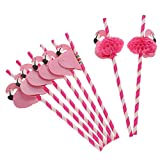 CosCosX 60 Pieces 3D Flamingo Honeycomb Straws for Parties, Ceremonies, Celebrations, Baby Showers, Birthdays, Hawaiian and tropical themed events Tropical Drinks Decorations, Rose