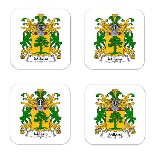 (Milano Family Crest Square Coasters Coat of Arms Coasters - Set of 4 )