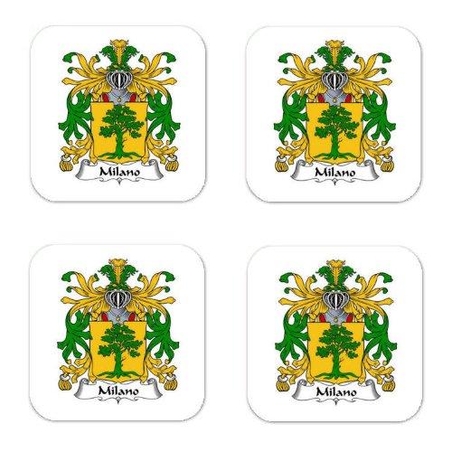 Milano Coat - Milano Family Crest Square Coasters Coat of Arms Coasters - Set of 4
