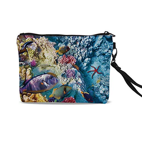 - Ocean Cute Cosmetic Bags,Exotic Coral Reefs Fish School Starfish Shallow Clean Lagoon Egyptian Red Sea Image For traveling,9