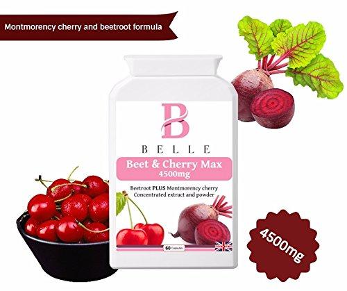 Belle ® remolacha y cereza Max 4500-Montmorency fórmula de cereza y remolacha con vitamina B6, polvo de pimienta negra y extracto de cúrcuma-mejora el ...