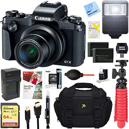 Canon PowerShot G1 X Mark III 24.2MP 3X Zoom Lens Digital Camera (Black) + Dual Battery Accessory Bundle