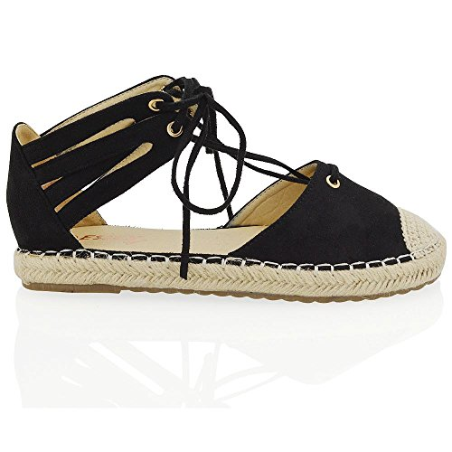 ESSEX GLAM Womens Lace Up Flat Espadrilles Sandals Ladies Ankle Straps Casual Shoes Size Black Faux Suede CS3Hde