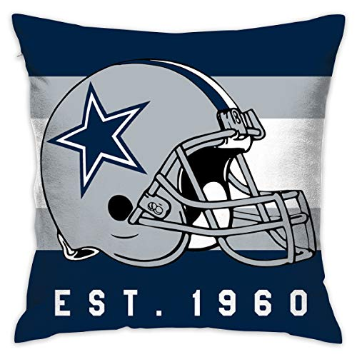 Gdcover Custom Stripe Dallas Cowboys Pillow Covers Standard Size Throw Pillow Cases Decorative Cotton Pillowcase Protecter with Zipper - 18x18 Inches (Dallas Cowboys Fabric)