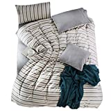 PromQueen Kids Twin Ivory Bedsure Cover Sets for Boys,Reversible 100% Cotton Ivory Stripe Print Pattern Soft Girls Bedding Sets, 3 Piece with Zipper Closure Corner Ties