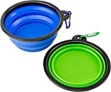 Cheap Collapsible Silicone Dog Bowl Foldable Expandable Cup Dish 2 Pack Non-BPA USDA FDA Recommended